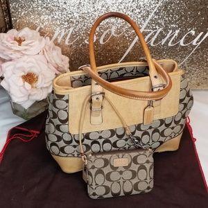 Coach Tan colored signature Handbag w/zipper pouch